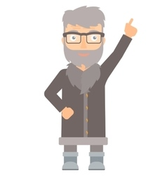 North man pointing up with finger vector