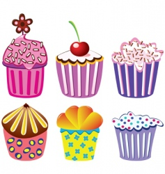set of cupcakes vector image vector image