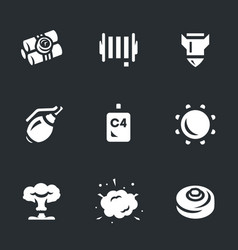 set of explosive icons vector image