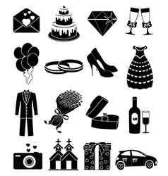 wedding day icons set vector image