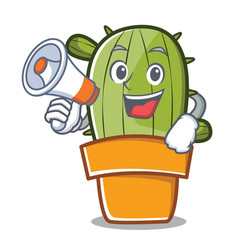 With megaphone cute cactus character cartoon vector