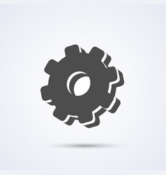 gear flat black icon sign white background vector image vector image