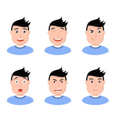 set of man face character icons flat style vector image