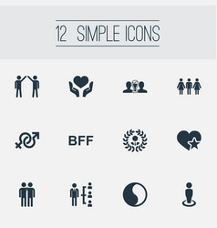 set of simple friends icons vector image