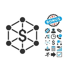Bank Network Flat Icon with Bonus vector image