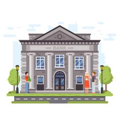 Banking operations bank building facade vector