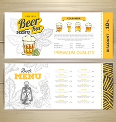 Beer bar menu design vector