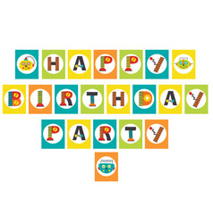 Birthday party garland with robot vector