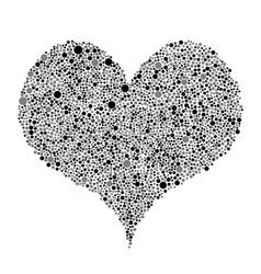 Black grey bubbles heart random dots vector