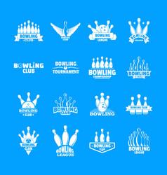 bowling kegling game logo set simple style vector image