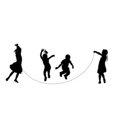 boys and girls exercises skipping with jump rope vector image