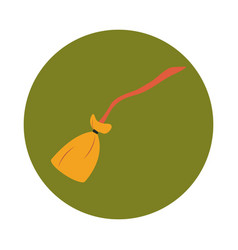 broom wooden handle tool cleaning flat and block vector image