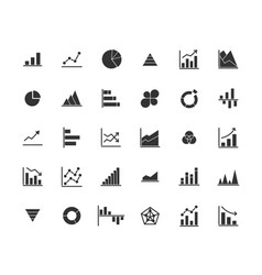business graph solid icon set vector image