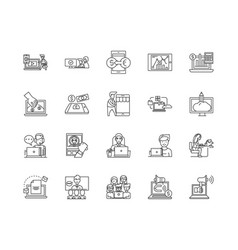 business networking line icons signs set vector image