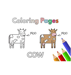 Cartoon cow coloring book vector