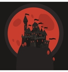 Cartoon dark Halloween Castle on a Hill flat icon vector image