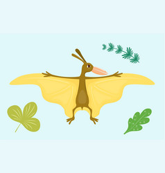 cartoon dinosaur pterodactyl vector image