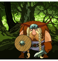 cartoon funny Viking man in armor in the forest vector image