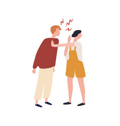 Cartoon suffer woman stopped angry man during vector