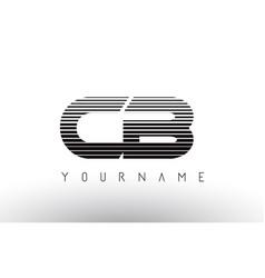 cb black and white horizontal stripes letter logo vector image