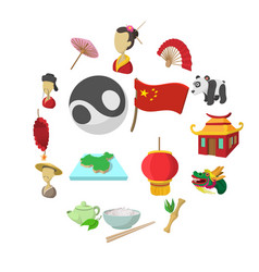 china cartoon icons vector image