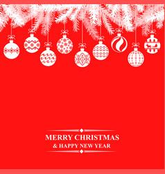 christmas greeting card with balls vector image