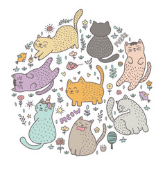 Circle shape print with cute cats vector