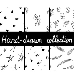 Collection of hand-drawn abstract patterns vector image