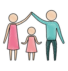 color crayon silhouette pictogram parents holding vector image