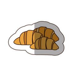 color croissant bread icon vector image
