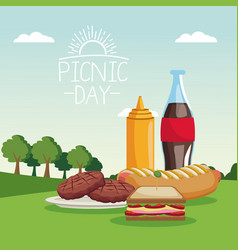 colorful poster scene landscape of picnic day with vector image