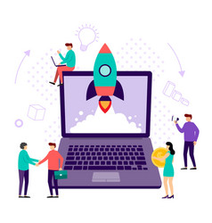 concept startup launch a new business young vector image