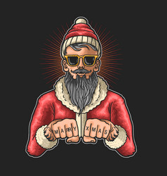cool santa claus graphic vector image