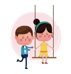 Couple loving pushing girl swing vector