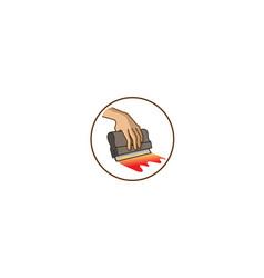 creative circle squeegee silkscreen logo symbol vector image