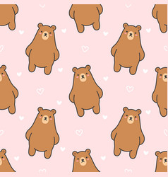 cute bear seamless pattern background vector image