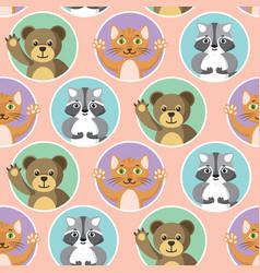 Cute little animals seamless pattern vector