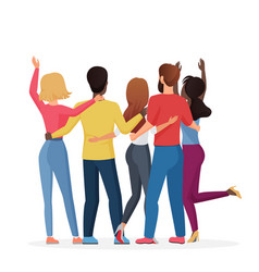 diverse friend group people hugging together vector image