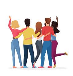 Diverse friend group people hugging together vector