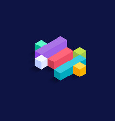 dollar symbol isometric colorful cubes 3d design vector image