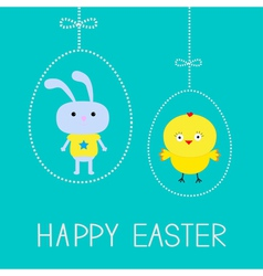 Easter chicken and bunny Hanging dash eggs Card vector image