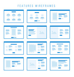Features wireframe components for prototypes vector
