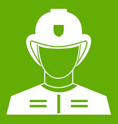 firefighter icon green vector image