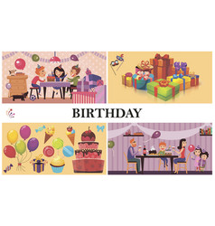 flat birthday party concept vector image