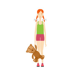 flat young girl holding bear toy vector image