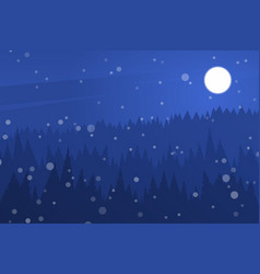 Forest at night sky night christmas landscape vector