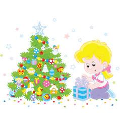 girl with a christmas gift vector image