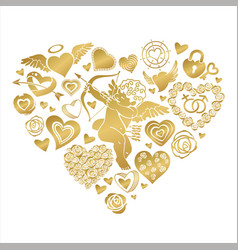 Greeting card to st valentines day with a big vector