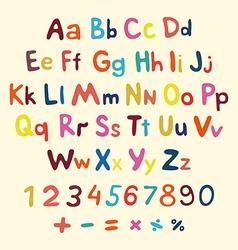 Hand-drawn alphabet art children vintage vector