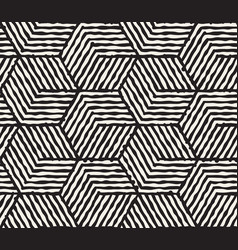 hand drawn black and white ink striped seamless vector image